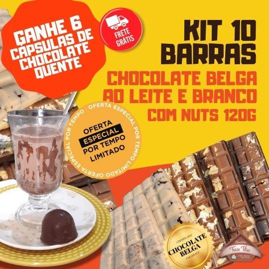 Kit - 10 barras de Chocolate Belga ao Leite e Branco com Nuts 120g cada - Ganhe 6 cápsulas de Chocolate Quente - FRETE GRÁTIS
