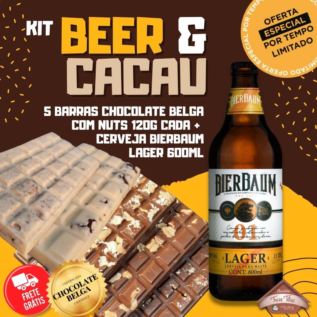 Kit BEER & CACAU - Cerveja Bierbaum Lager + 5 Barras de Chocolate Belga com Nuts - FRETE GRÁTIS