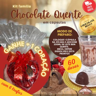 Kit Família - 60 doses de Chocolate Quente + Coração com trufas - FRETE GRÁTIS