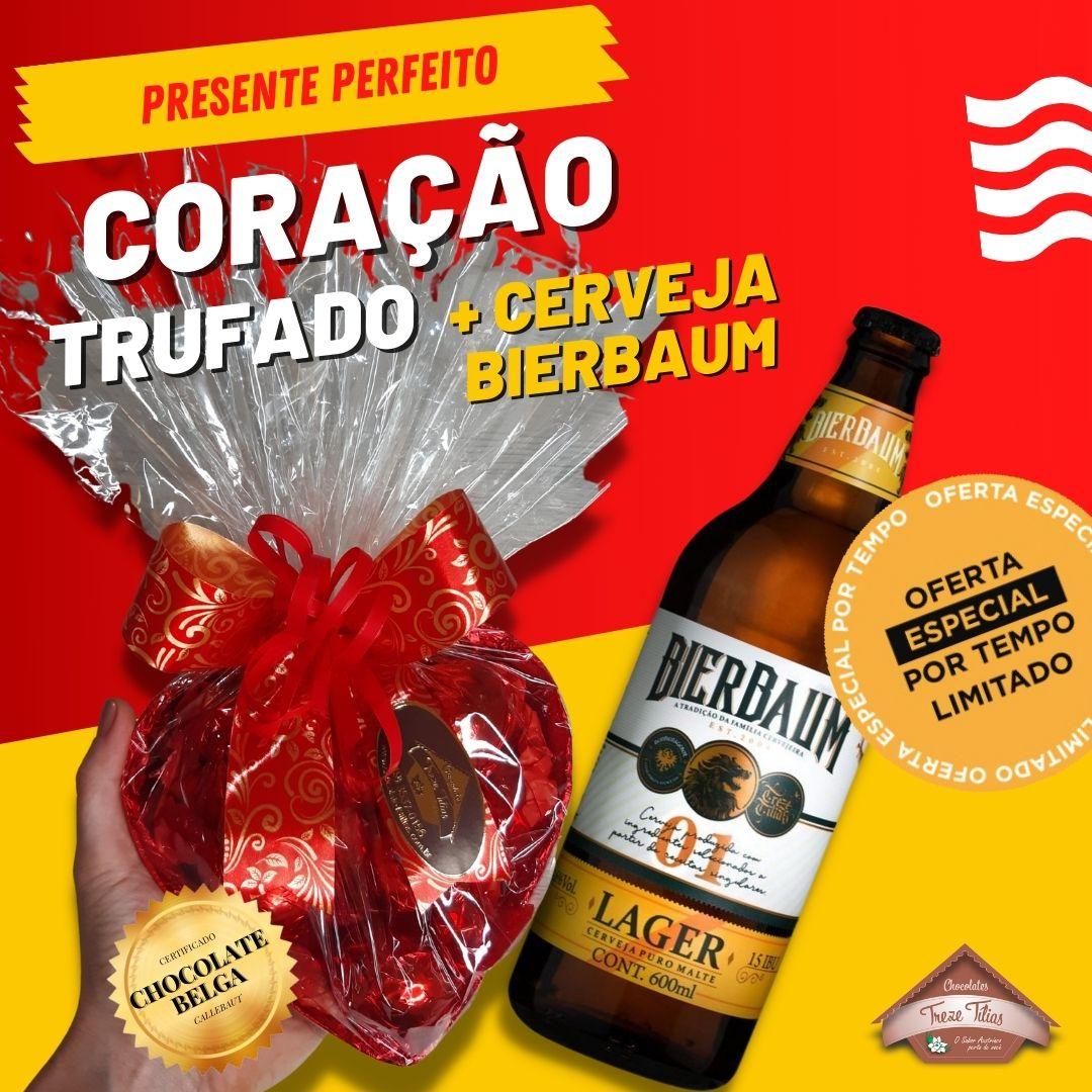 PRESENTE PERFEITO - Coração Trufado 285g + Cerveja Bierbaum Lager 600ml