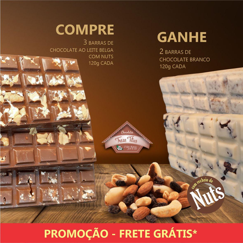 PROMOÇÃO - COMPRE 3 Barras de Chocolate ao Leite Belga com Nuts e GANHE 2 Barras de Chocolate Branco com Nuts - FRETE GRÁTIS