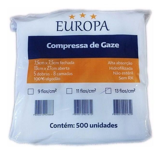 COMPRESSA DE GAZE 13 FIOS EUROPA POLARFIX C/500 UND