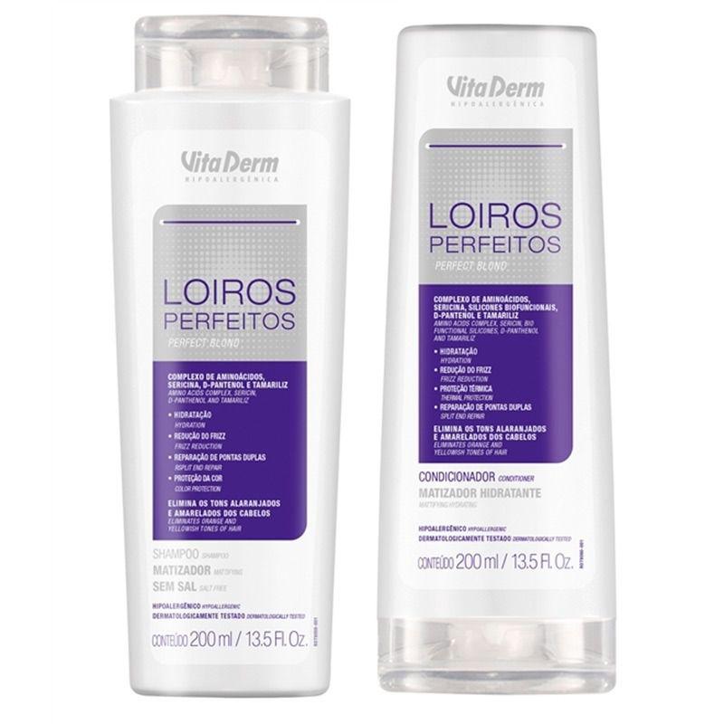 Condicionador + Shampoo Matizador Loiros Perfeitos - Vita Derm - 200ml cada (Brinde 3 Ampola Reconstrutora)
