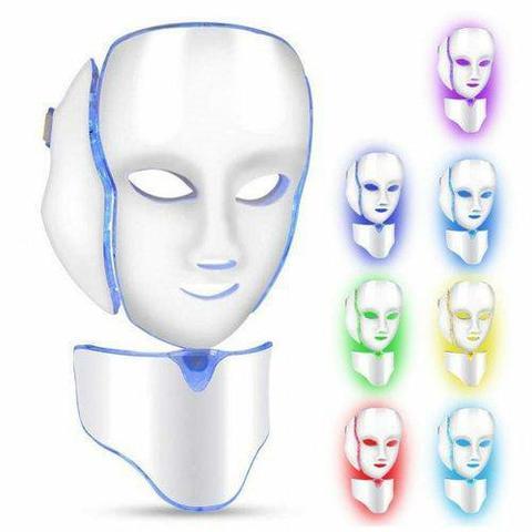 Máscara Facial e Pescoço Luz de Led 7 Cores