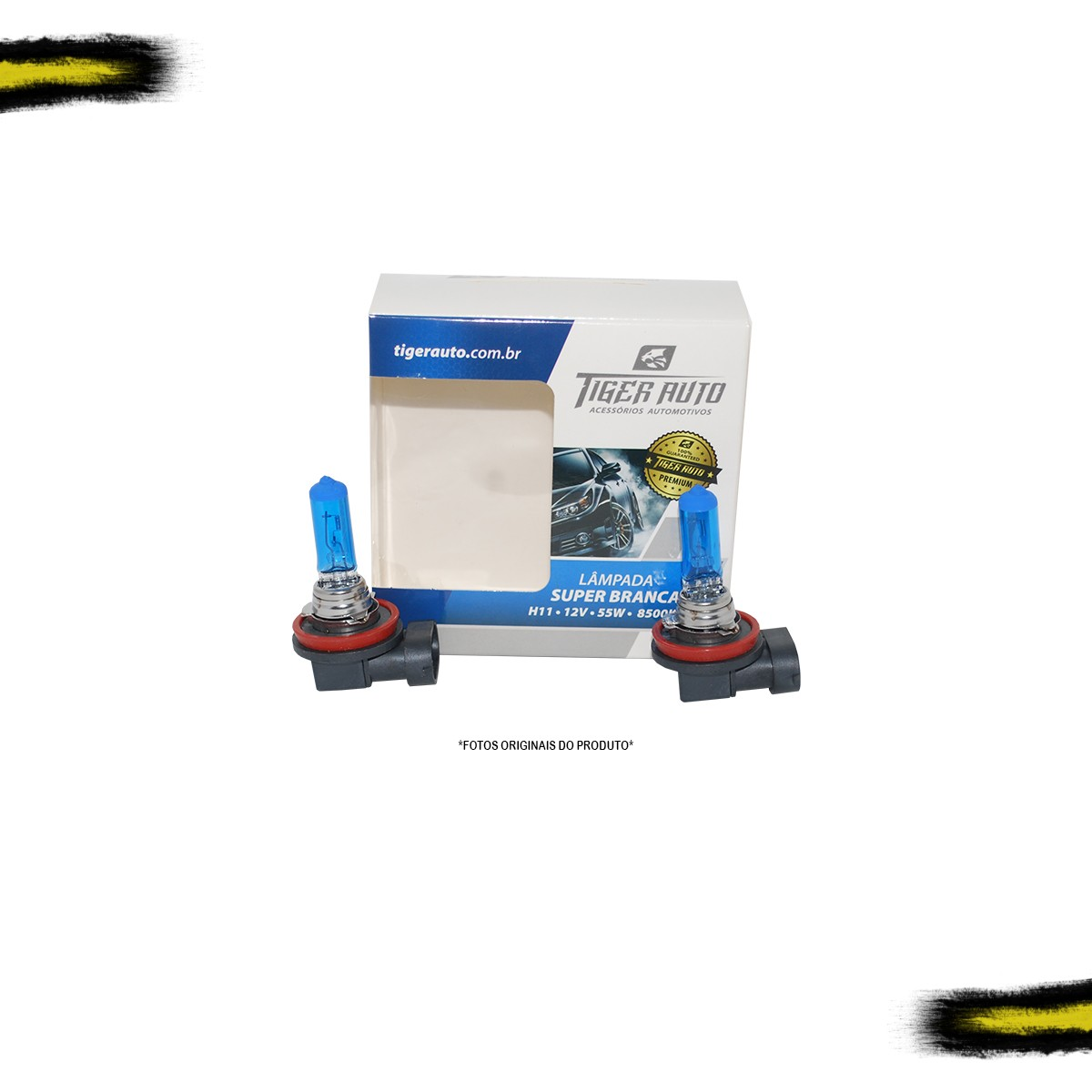 Kit Lâmpada Super Branca H11 Tiger Auto 8500k/2