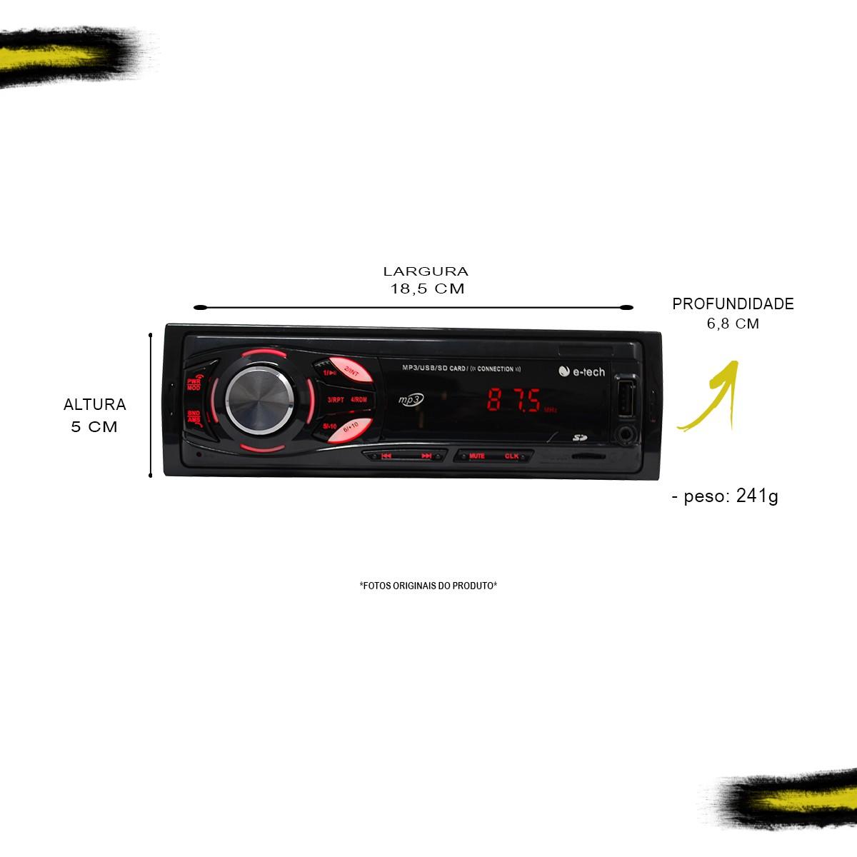 Kit MP3 Light E-Tech + 2 Pares de Falantes 6 polegadas Bravox