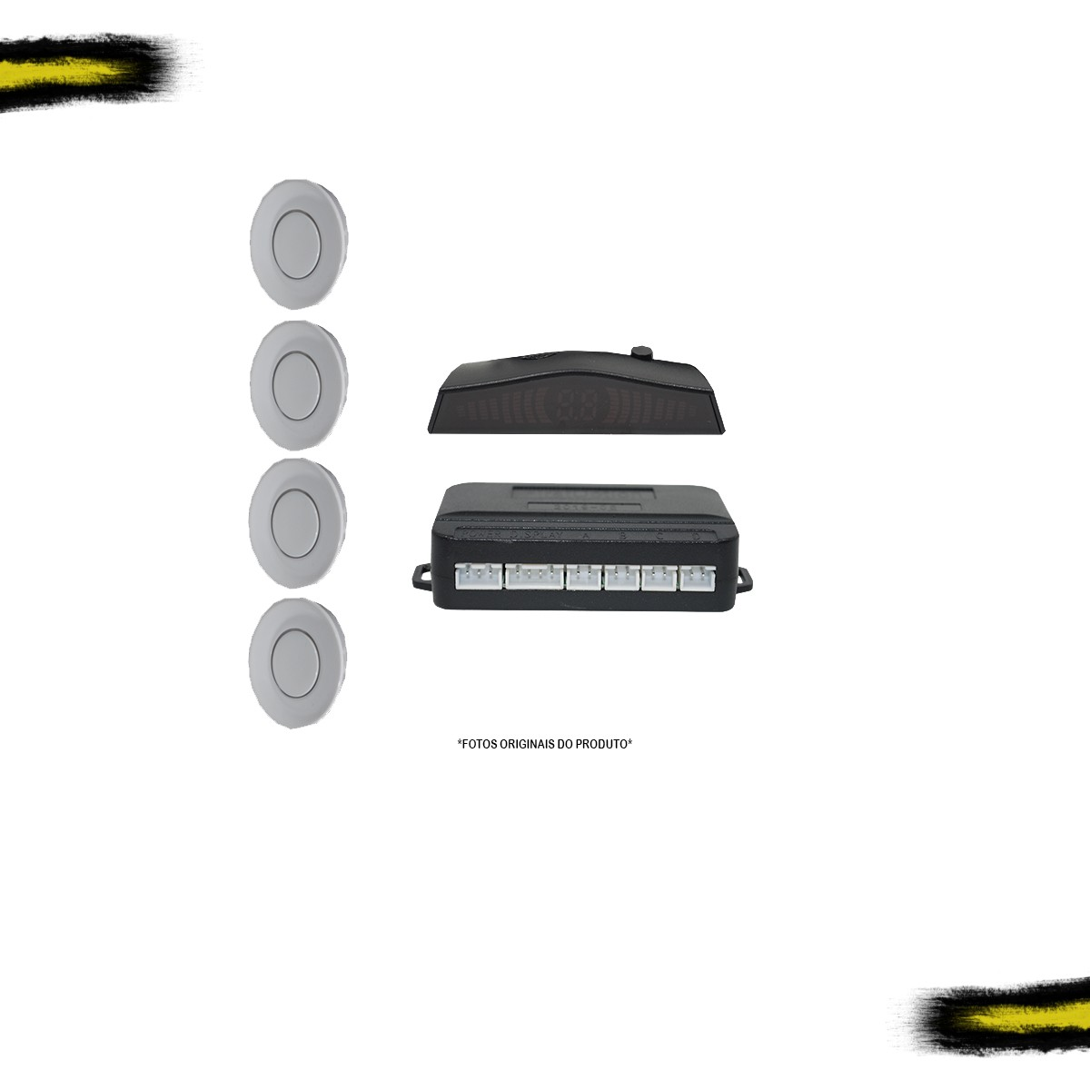 Sensor Estacionamento Automotivo First Option Display Branco