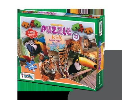 Puzzle Animais + 7 anos - Embalagem 27 x 21 x 4 cm.