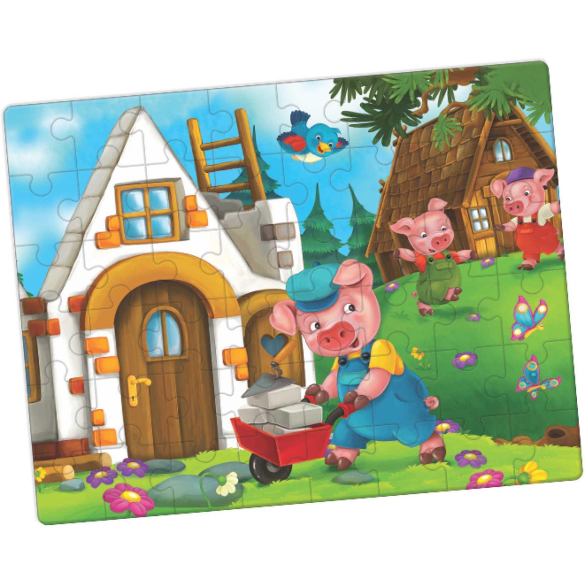 Puzzle dos Três Porquinhos - 24 Peças / Idade + 4 anos.