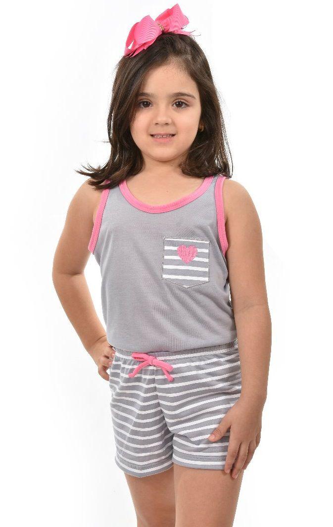eafe4db5066a4a Pijama Short Regata Coração Com Listra Feminino Infantil Ravvivare