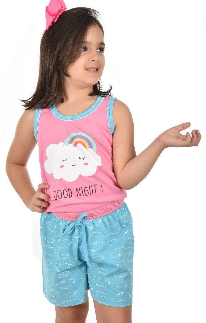 c4512dcc2 Pijama Short Regata Nuvem Arco-Íris Feminino Infantil Ravvivare 100% Algodão