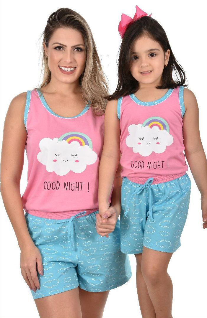 a10b781fd ... Pijama Short Regata Nuvem Arco-Íris Feminino Infantil Ravvivare 100%  Algodão