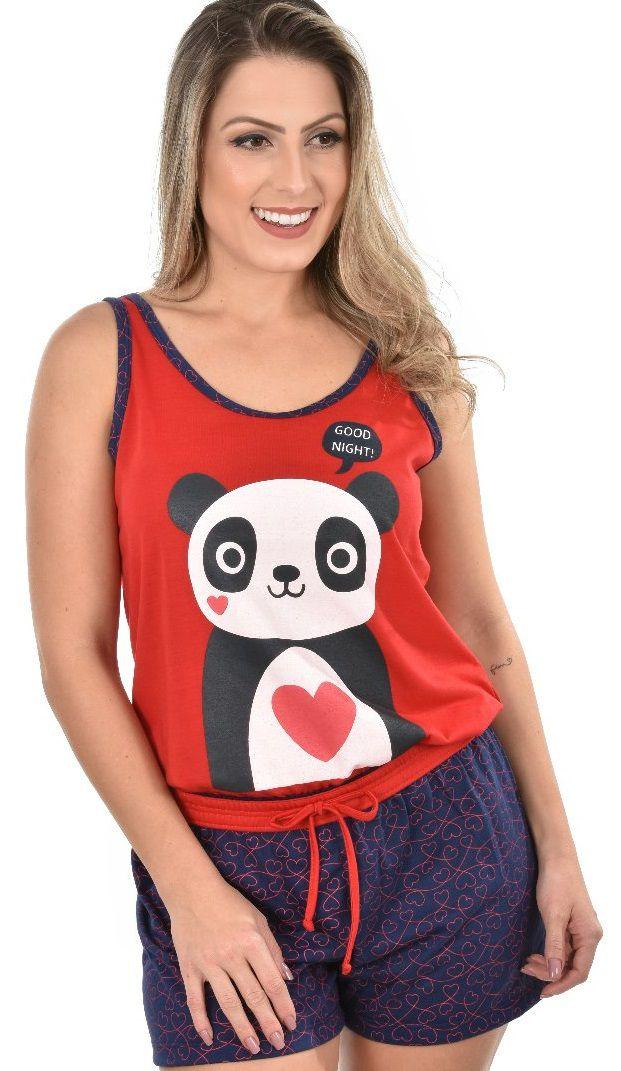 eda0532d1a Pijama Short Regata Panda Feminino Adulto Ravvivare