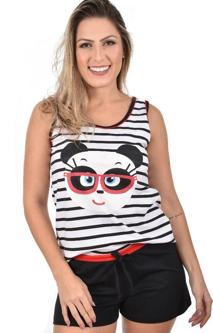 1a7389c4a6 Pijama Short Regata Panda Com Listra Feminino Adulto Ravvivare 100% Algodão