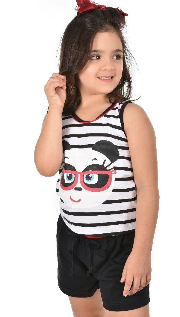 7c0bb882fa Pijama Short Regata Panda Com Listra Feminino Infantil Ravvivare - P   P  Moda Íntima ...