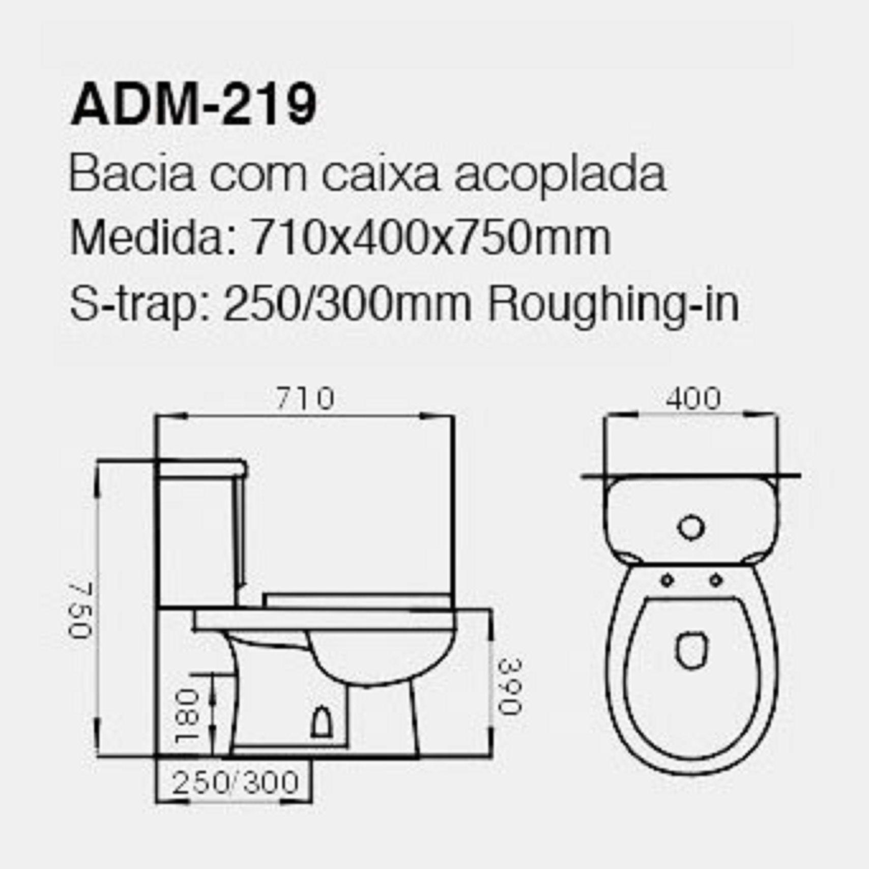 VASO SANITÁRIO CAIXA ACOPLADA ADAMAS ADM-219