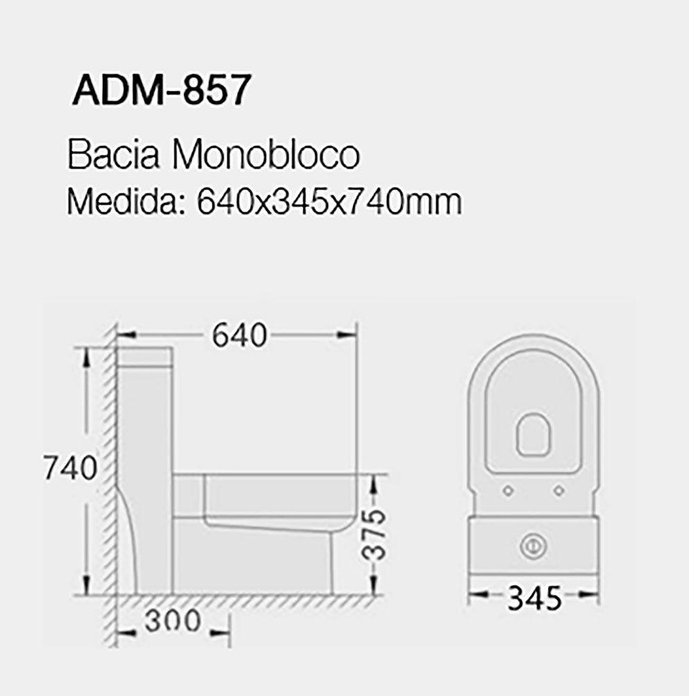 VASO SANITÁRIO CAIXA ACOPLADA ADAMAS ADM-857