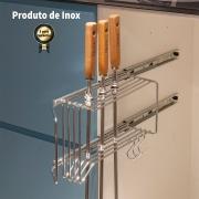Suporte Porta Espetos Lateral em aço INOX - Uso Interno