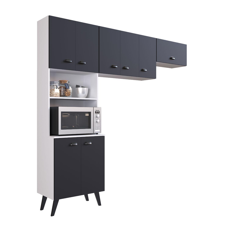 Cozinha Compacta Com Armario Retro Mia Coccina Preto Branco