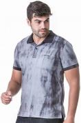 Camisa Polo Masculina Hifen com Lavagem Tie Dye Cinza