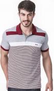 Camisa Polo Masculina Hifen Listrada Fio Tinto 100% Algodão Cinza
