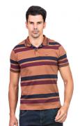 Camisa Polo Masculina Listrada Hifen Marrom