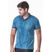 Camisa Polo Masculina Hifen com Lavagem Tie Dye Azul