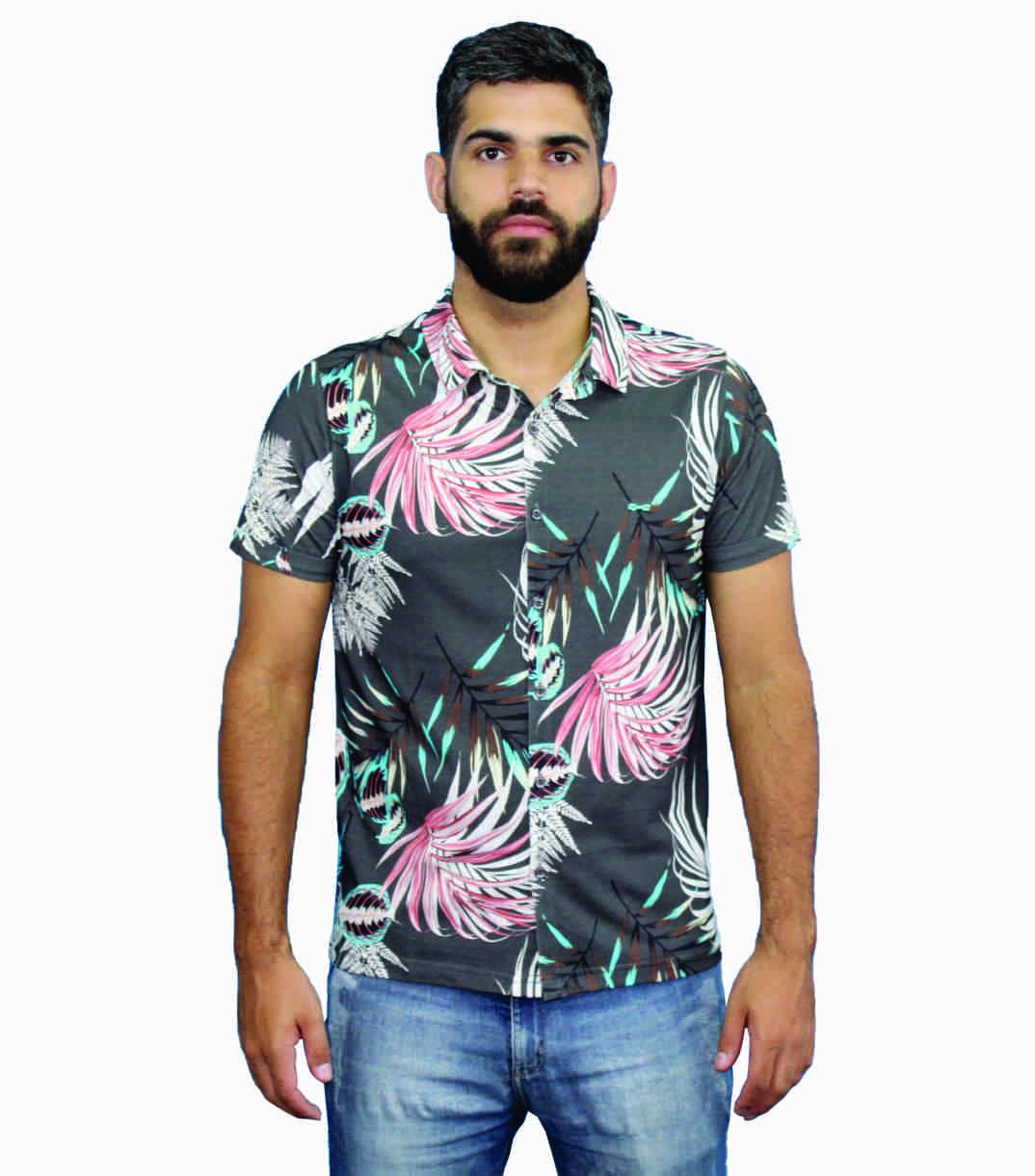 Camisa Estampada Em Malha De Algodão Preta