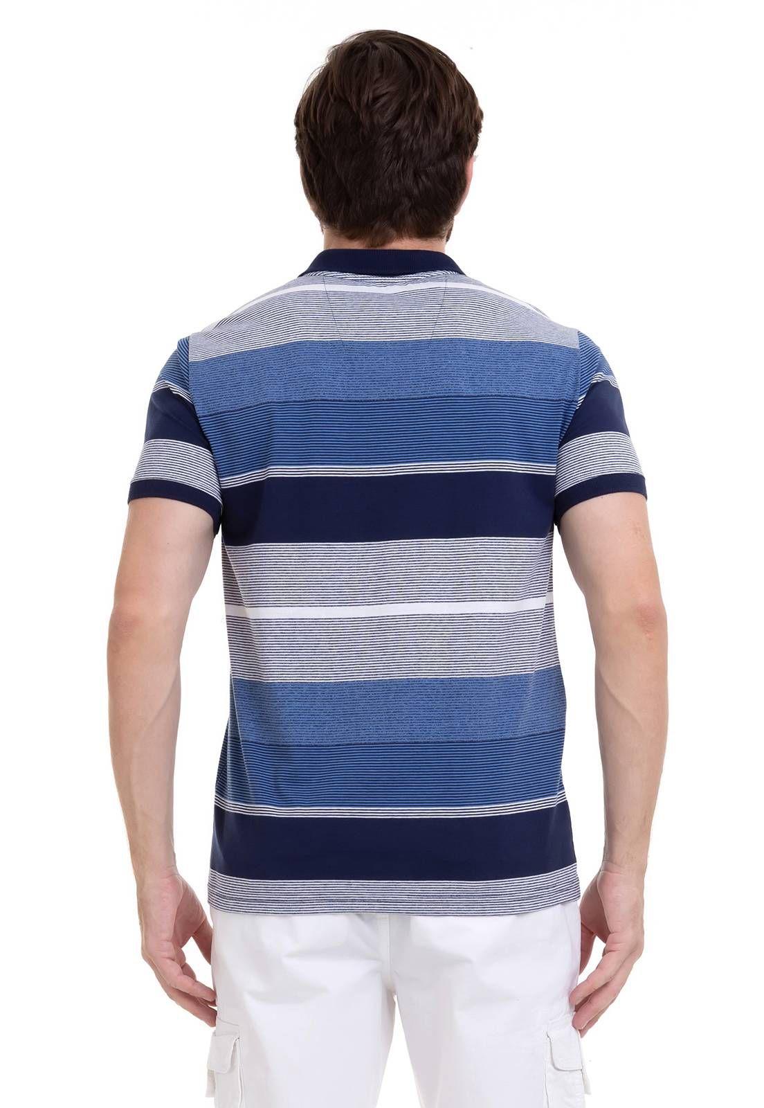 Camisa Hifen Polo listrada Azul