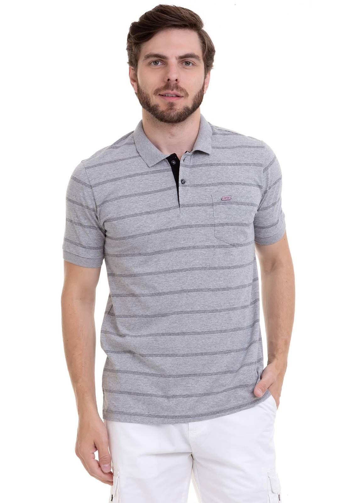Camisa Polo com bolso Listras Discretas .