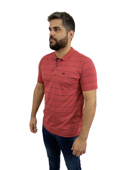 Camisa Polo com bolso Listras Discretas Vermelha