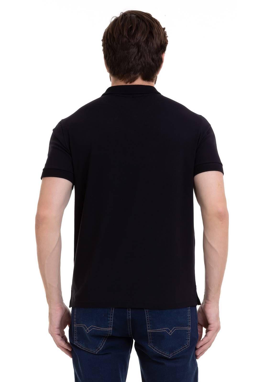 Camisa Polo Elastano Com Bolso Preta