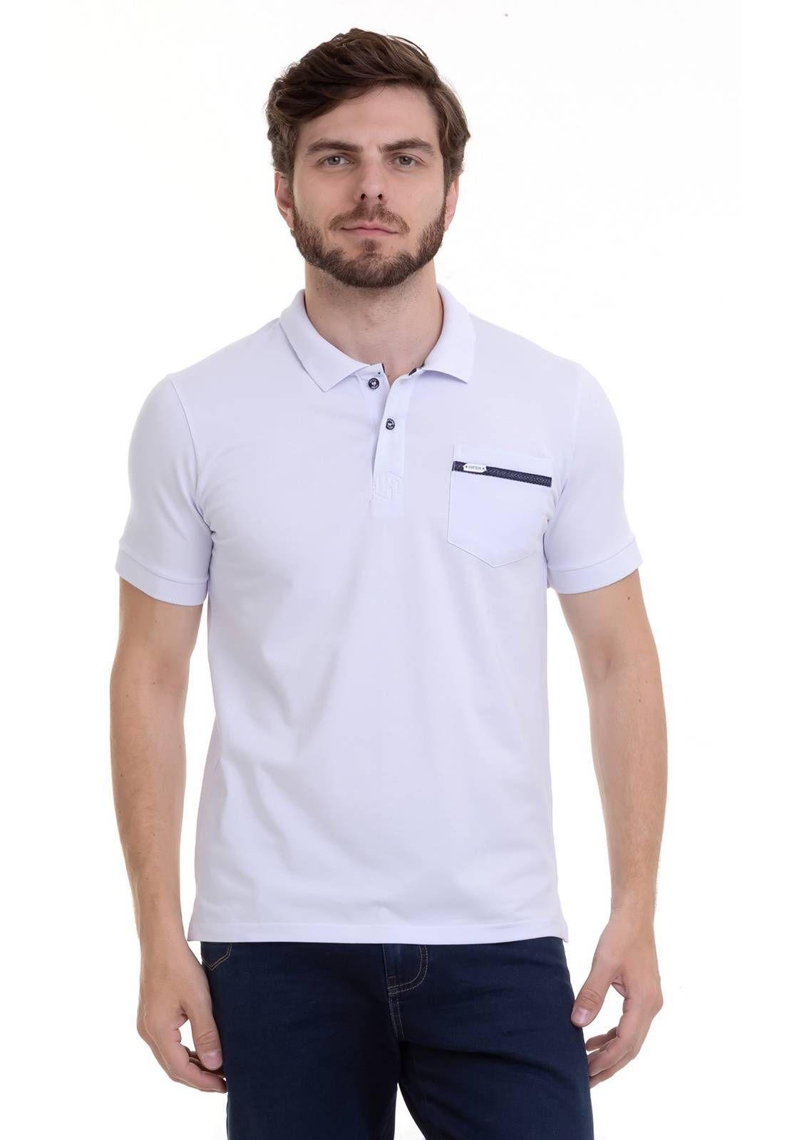 Camisa Polo Elastano Com Bolso Branca