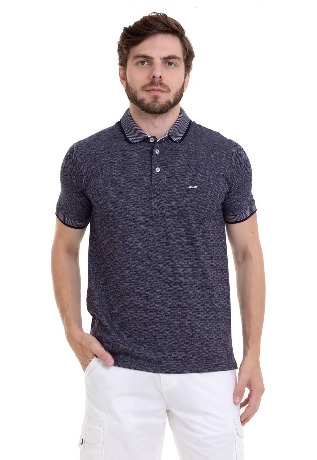 Camisa Polo em Jacquard de Algodão
