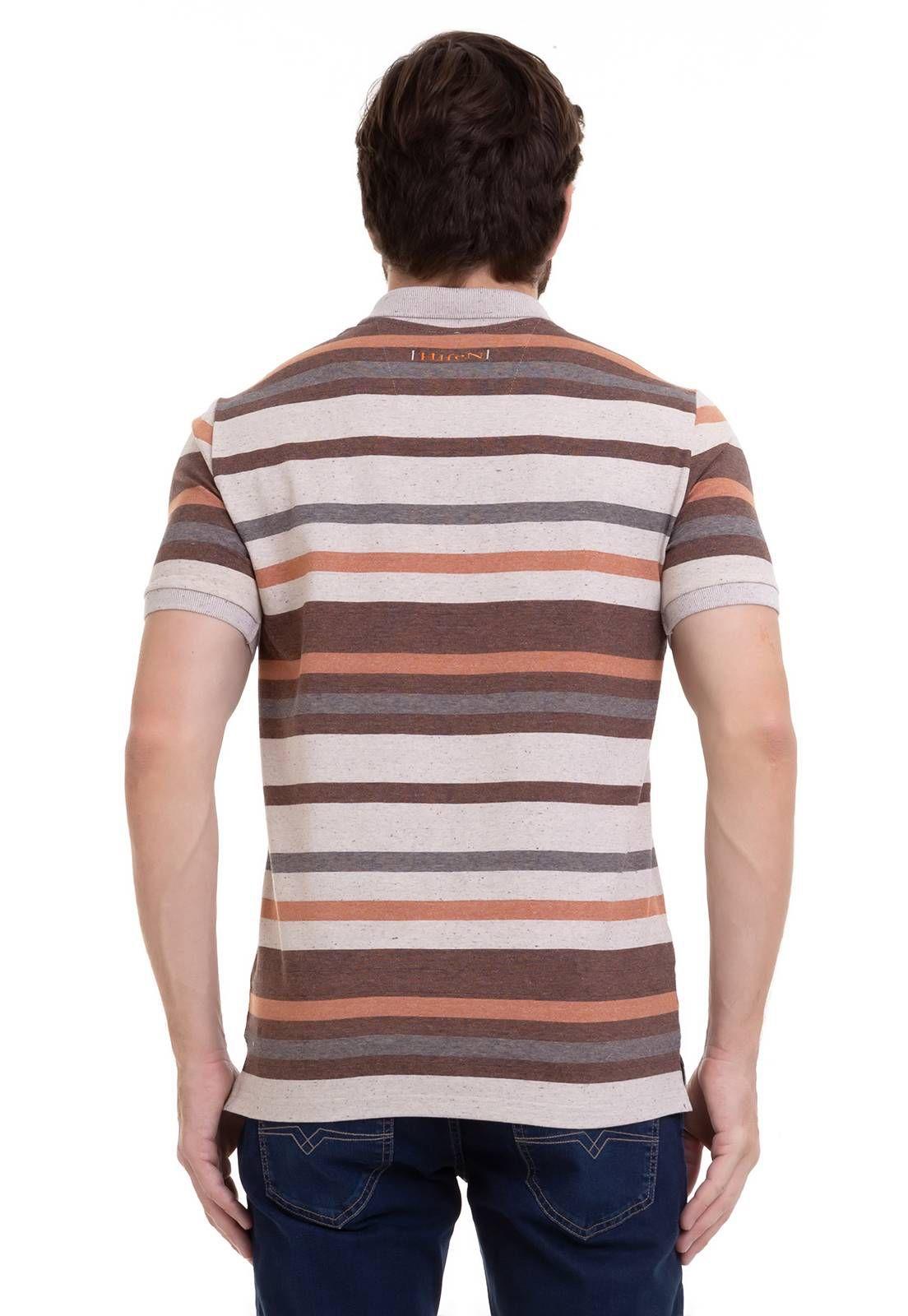 Camisa Polo Em Malha Linho Listrada