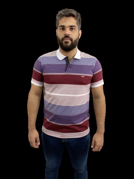 Camisa Polo Em Malha Listrada