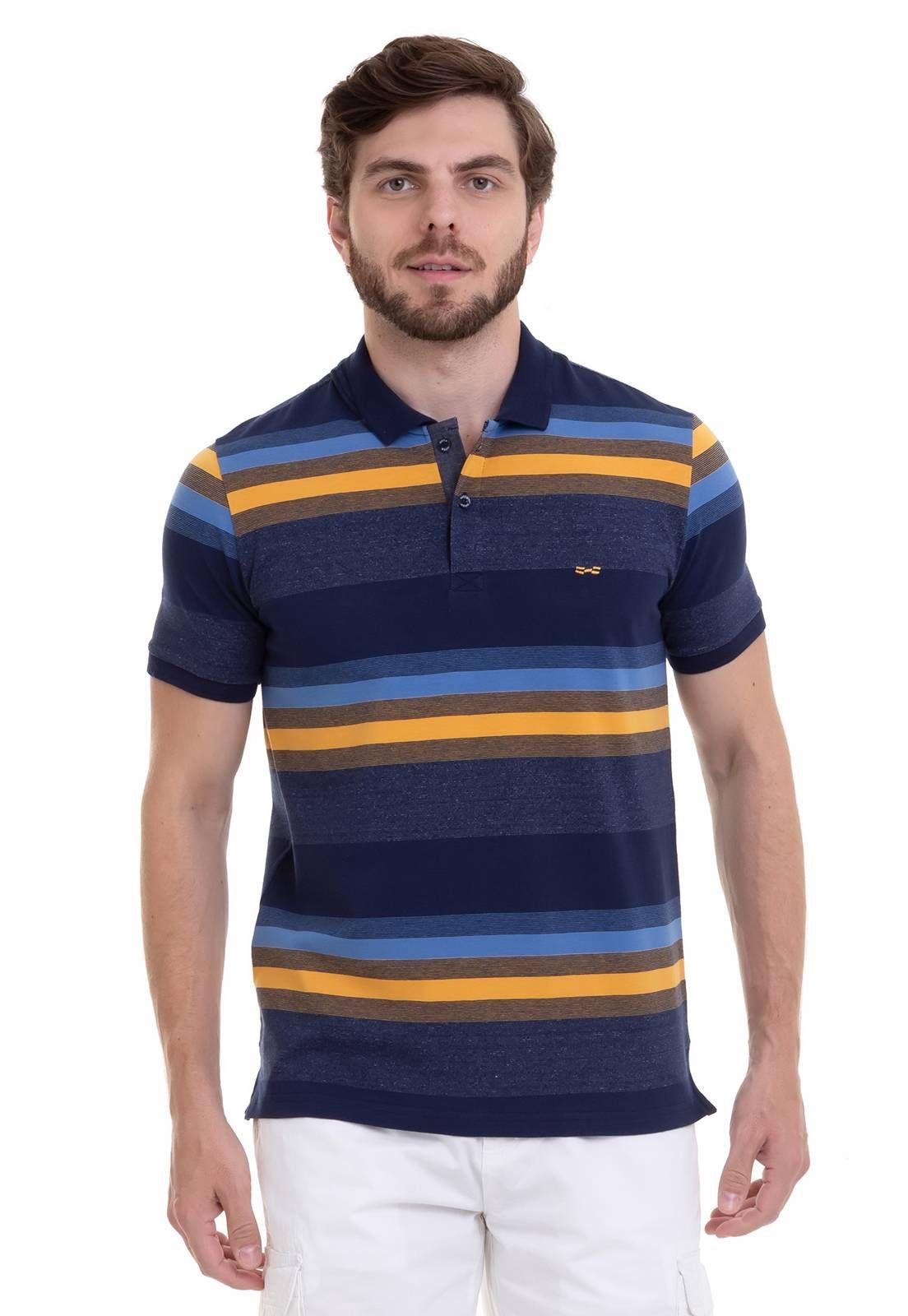 Camisa Polo Hifen Listrada Amarela Com Efeito Jeans