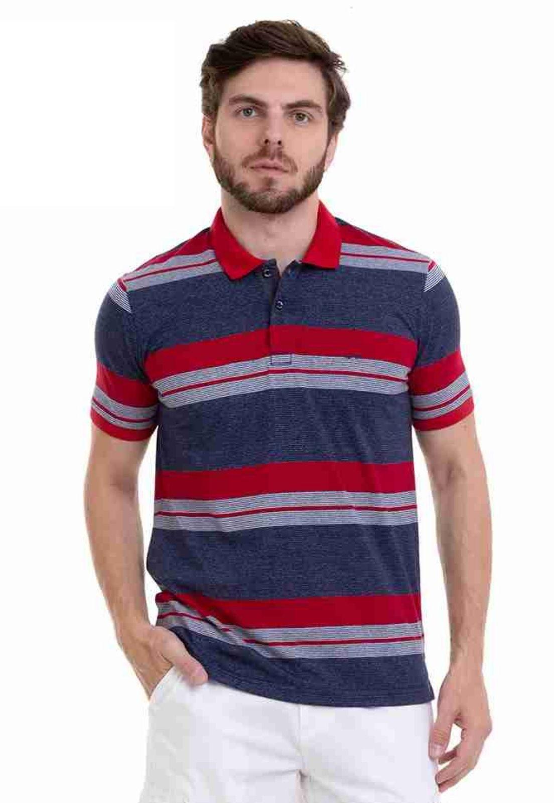 Camisa Polo Hifen Listrada Azul Com Efeito Jeans