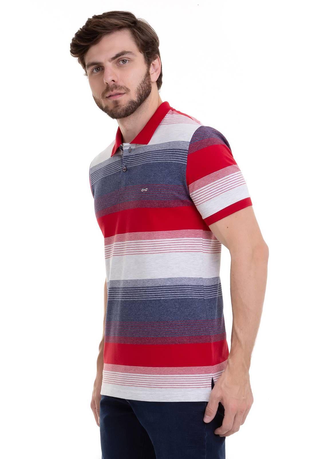 Camisa Polo Hifen Listrada Em Tecido Piquet De Algodão e Elastano