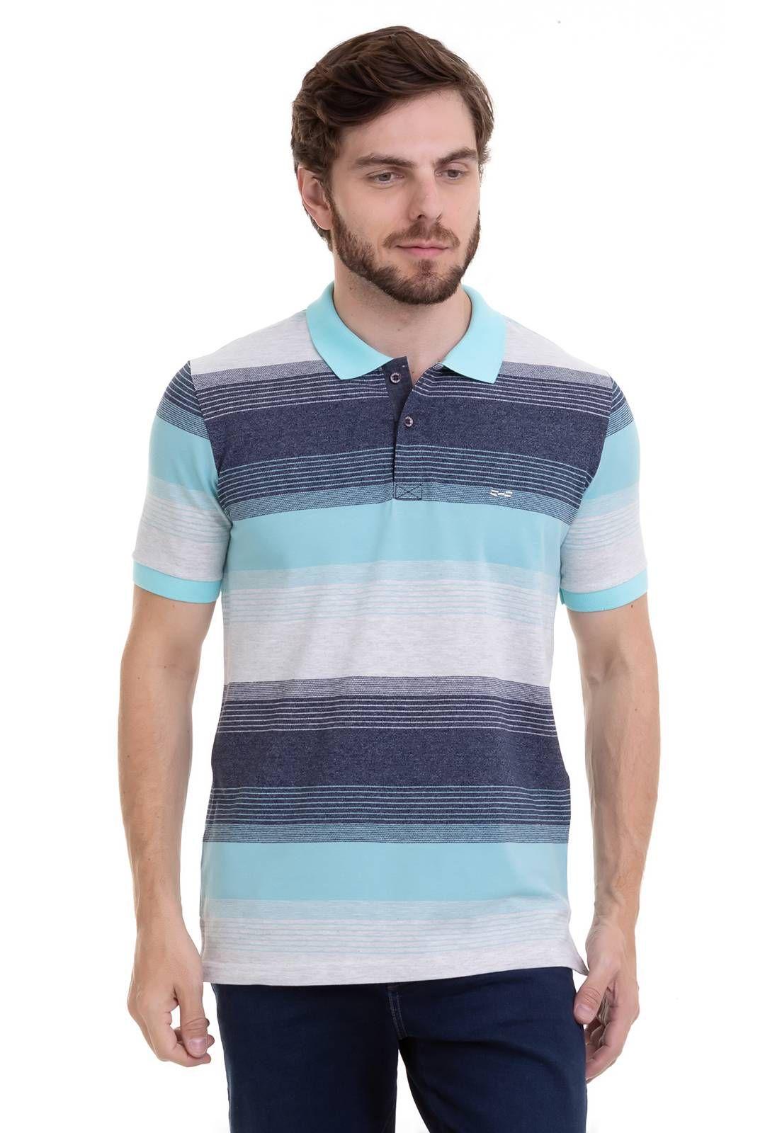 Camisa Polo Hifen Listrada Em Tecido Piquet De Algodão e Elastano Azul
