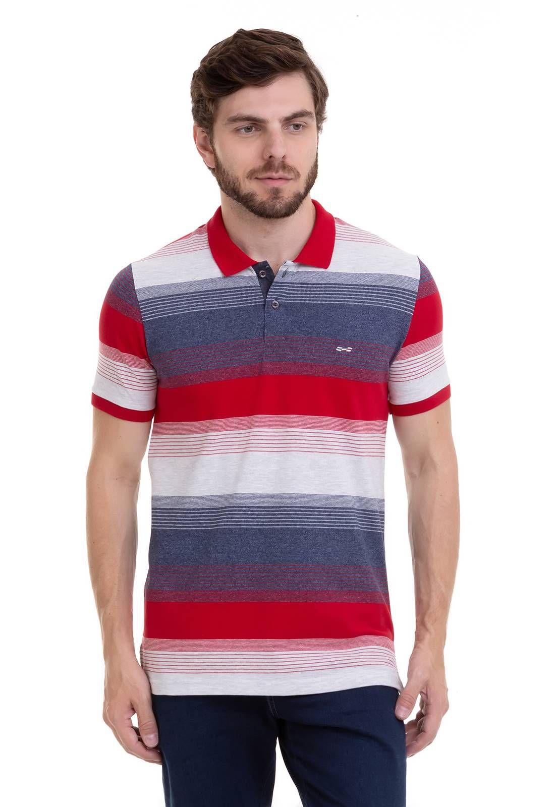 Camisa Polo Hifen Listrada Em Tecido Piquet De Algodão e Elastano Vermelha