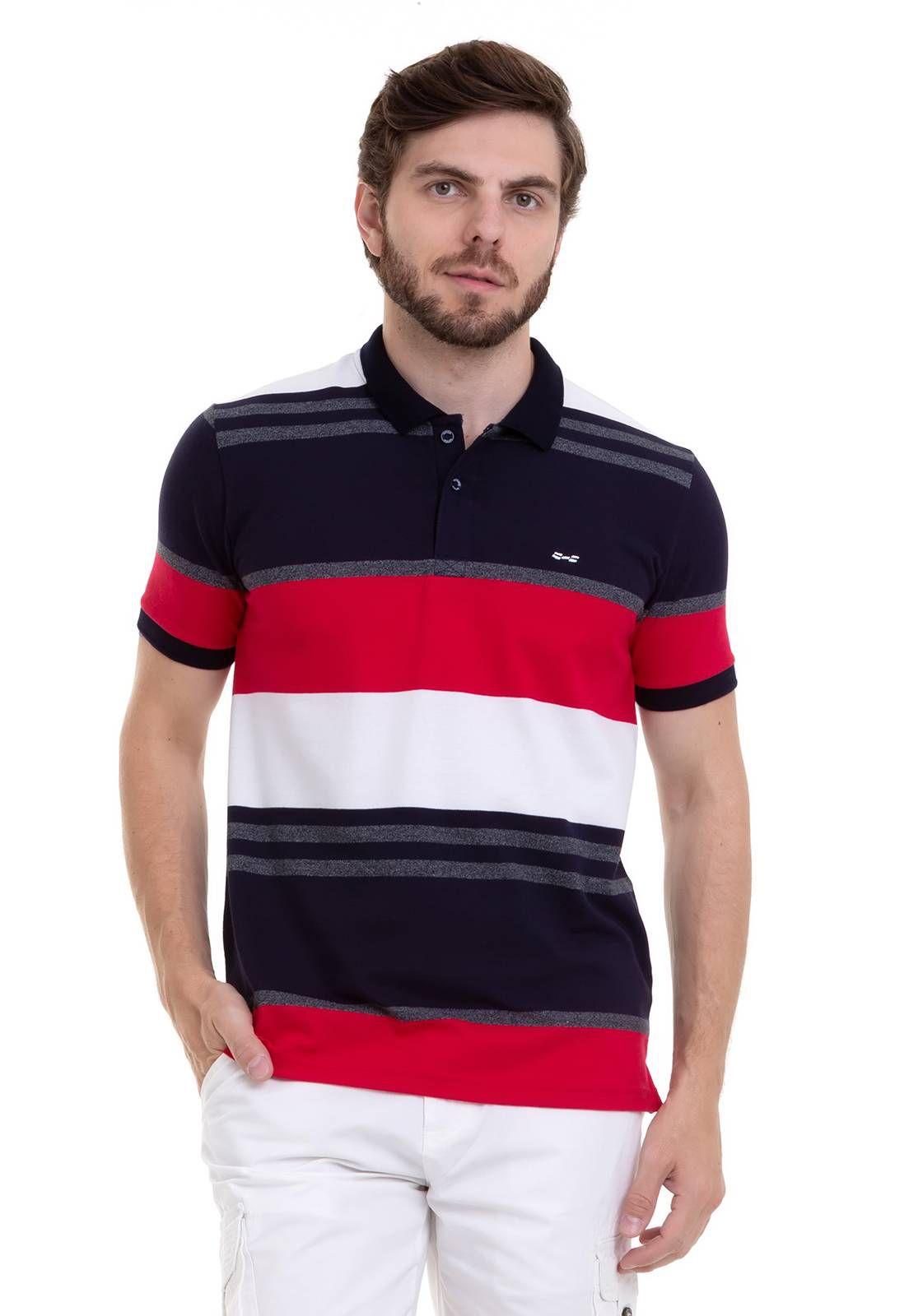 Camisa Polo Hifen Listrada Em Tecido Piquet Vermelha