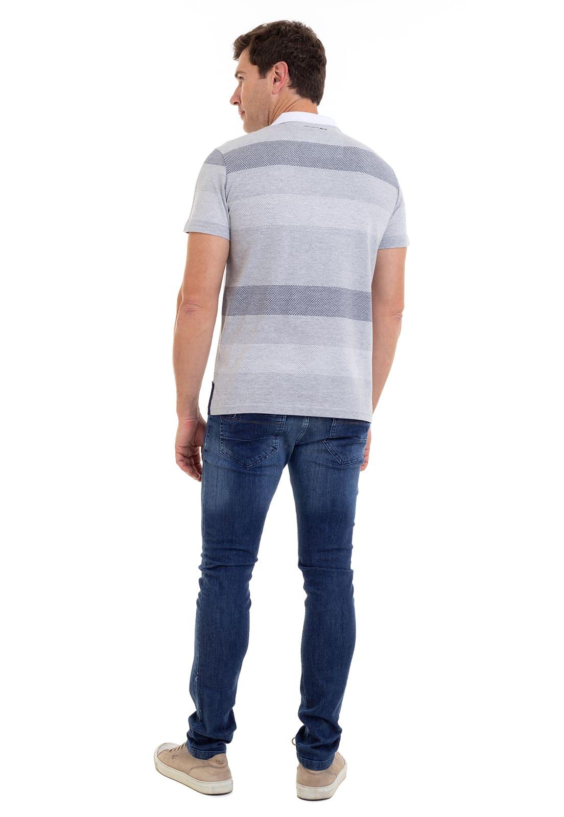 Camisa Polo Listrada Com Bolso Hifen Cinza