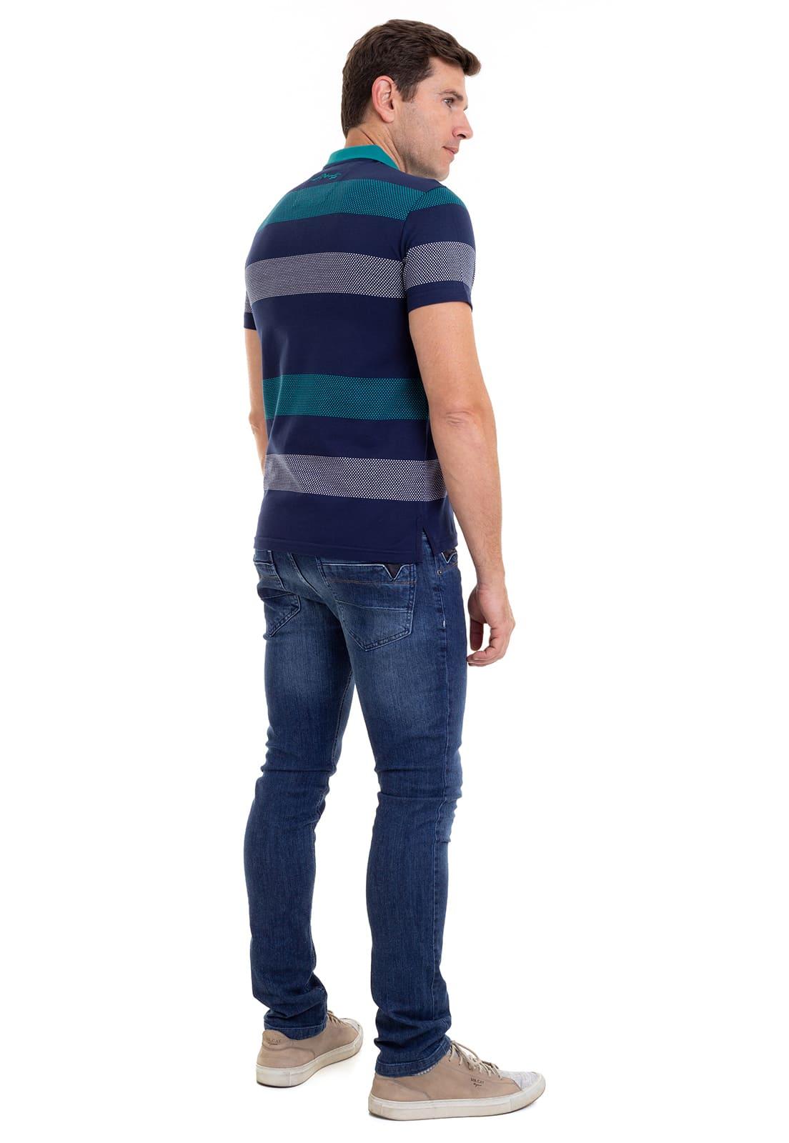 Camisa Polo Listrada com Bolso Hifen Marinho