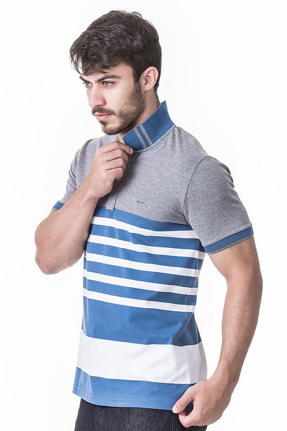 Camisa Polo Masculina Hifen Listrada Fio Tinto CINZA