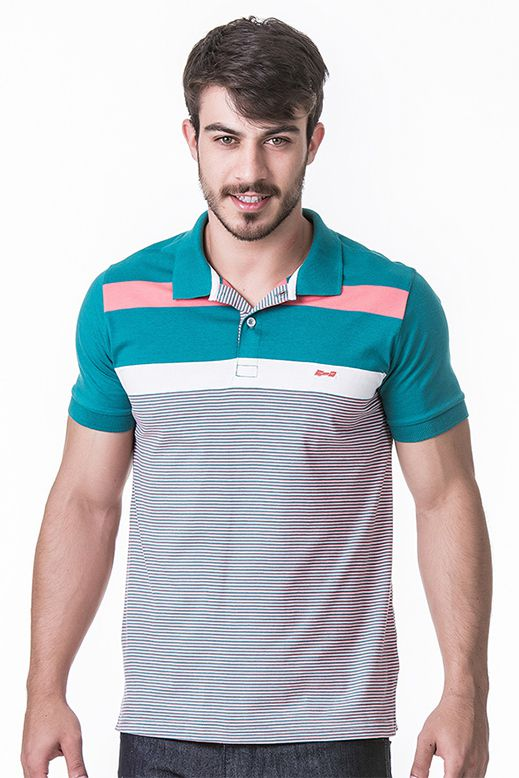 900a6a9651644 ... Camisa Polo Masculina Hifen Listrada Fio Tinto 100% Algodão - Hifen  Camisetas