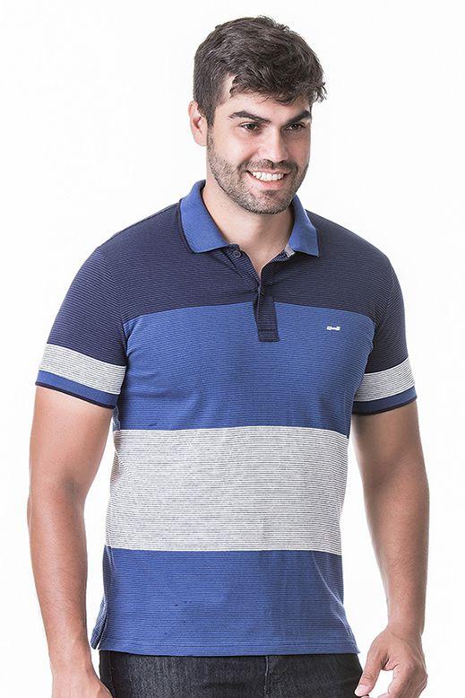 Camisa Polo Masculina Hifen Listrada em Fio Tinto Azul