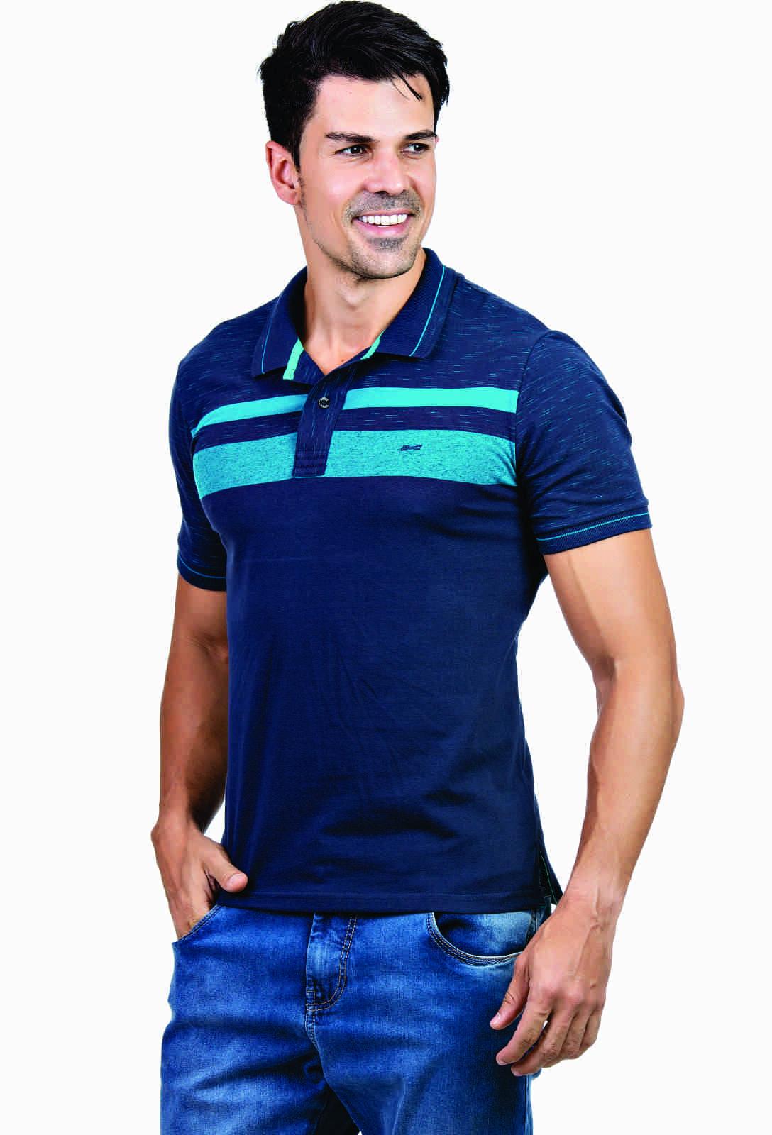 Camisa Polo Listrada Hifen Azul