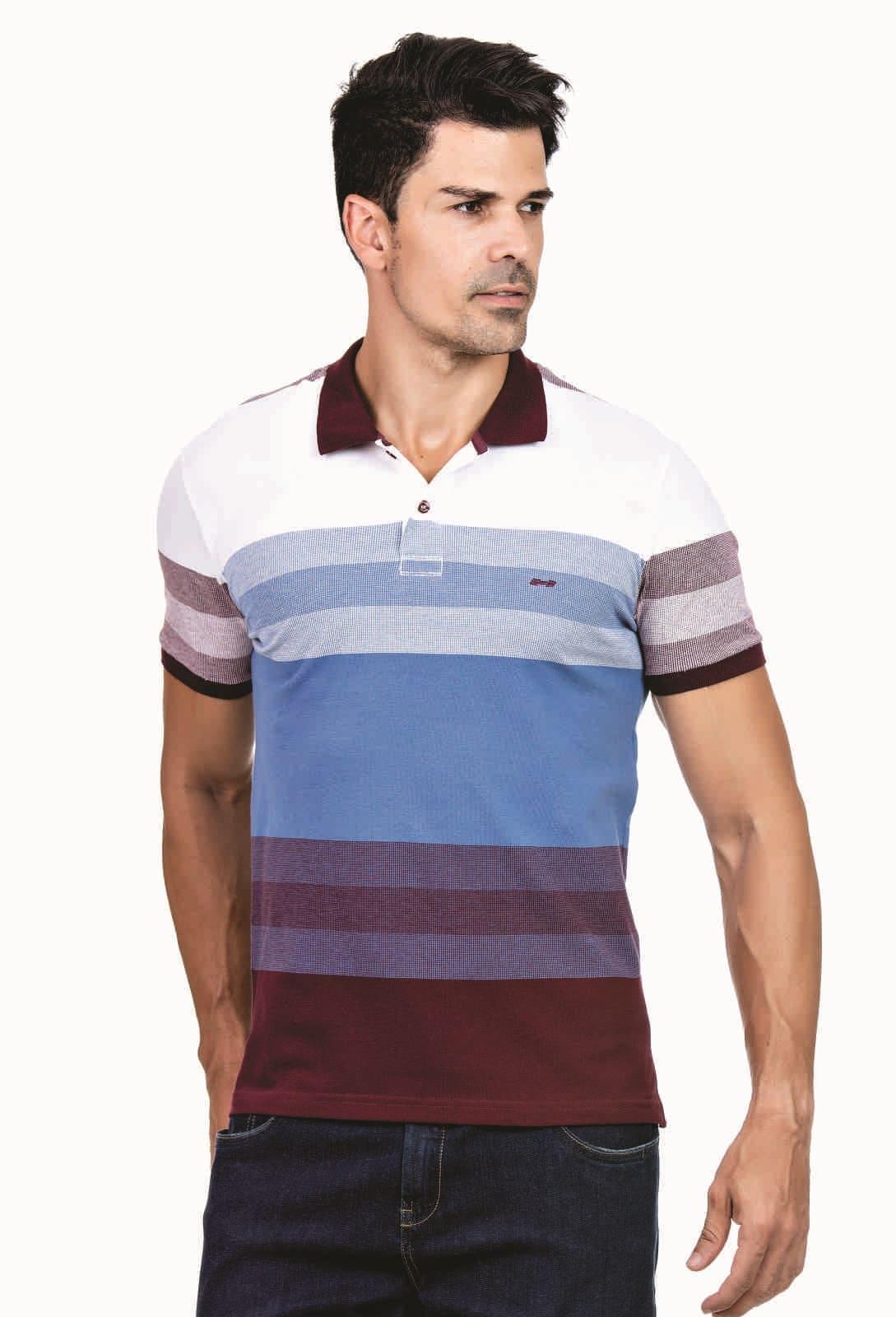 Camisa Polo Listrada Hifen Vinho