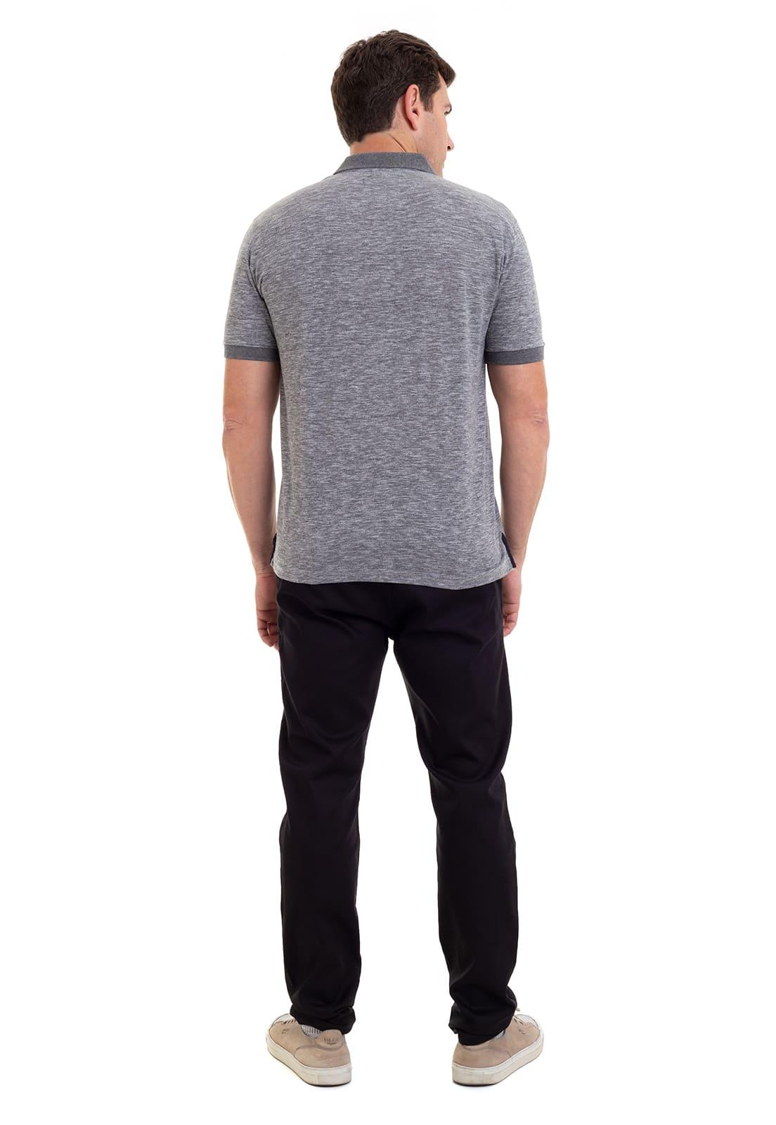 Camisa Polo Masculina Hifen Básica Cinza